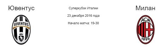Прогноз на матч ювентус милан суперкубок